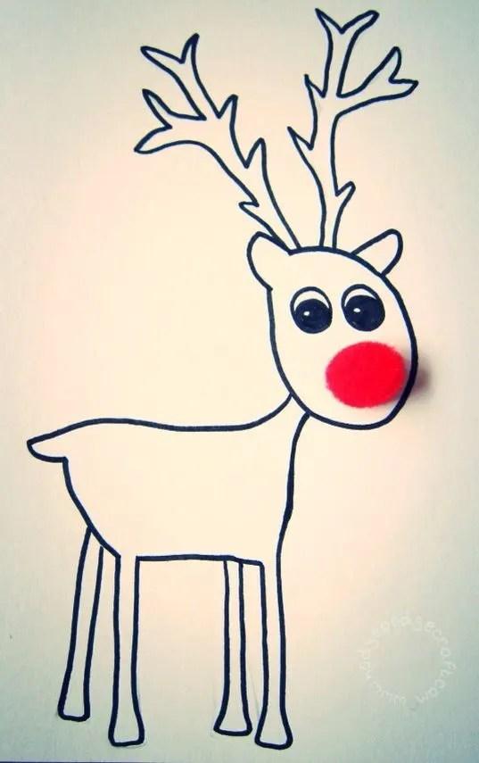 Pompom Reindeer Christmas Card