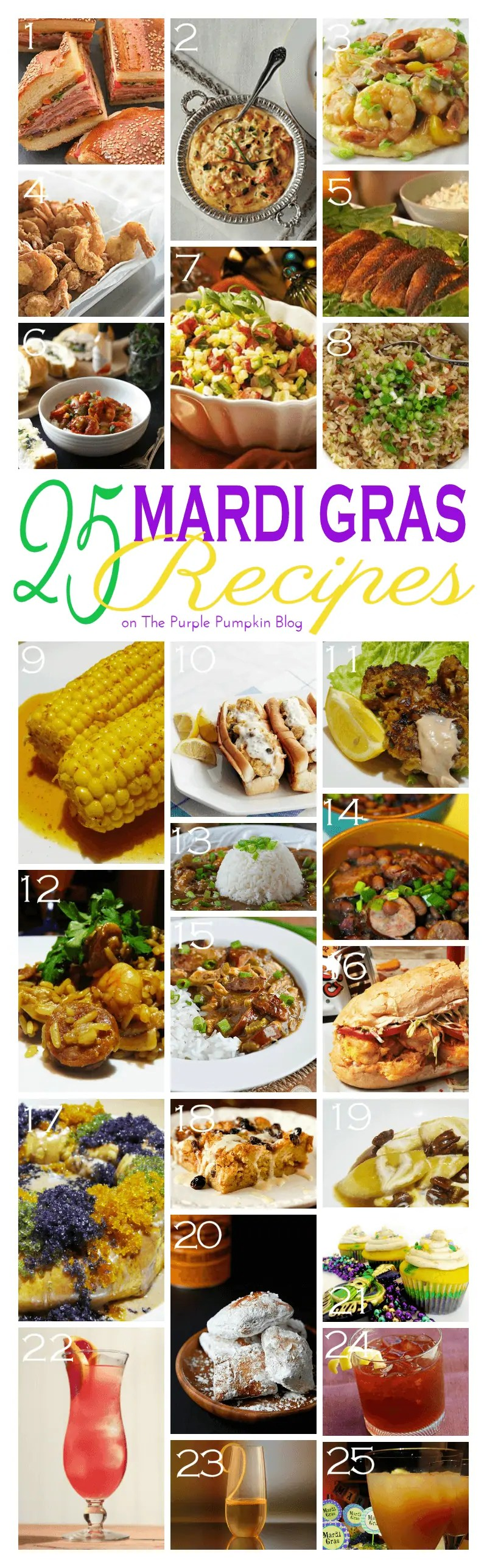 25 Mardi Gras Recipes on The Purple Pumpkin Blog