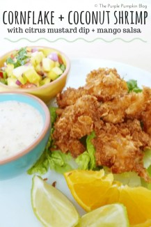 Cornflake + Coconut Shrimp with Citrus Mustard Dip + Mango Salsa