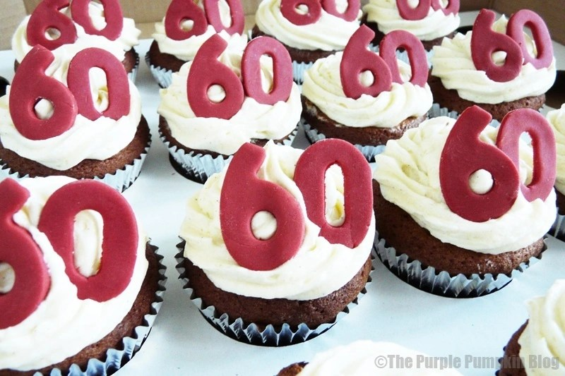 Red White 60th Birthday Cupcakes