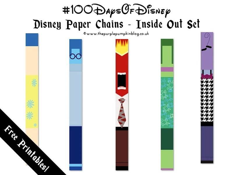 Disney Paper Chains - Inside Out Set. A FREE printable - perfect for party decorations or use as a countdown for a Disney vacation! So many other great printables on this site too!