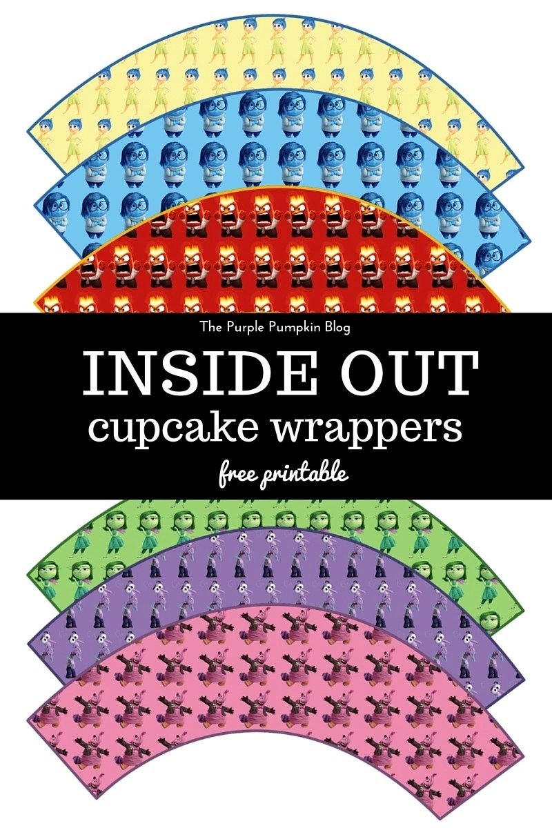Inside Out Cupcake Wrappers - Free Disney Pixar Printable. These are AWESOME for a Disney Pixar Inside Out themed birthday party! Just print and cut as many as you need! Plus loads more awesome free Disney printables on this site!