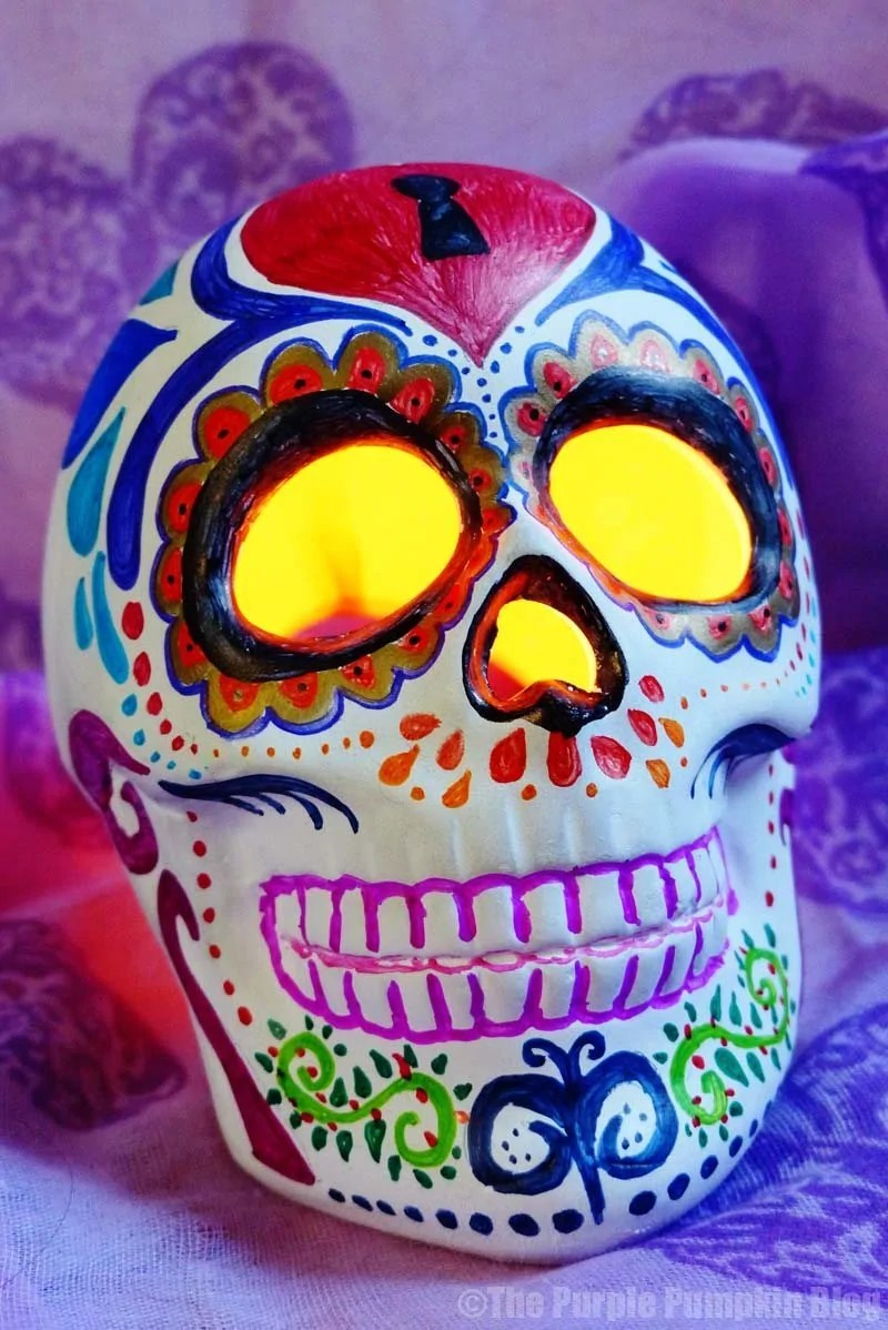 Day Of The Dead Sugar Skull Candle Holder Crafty October
