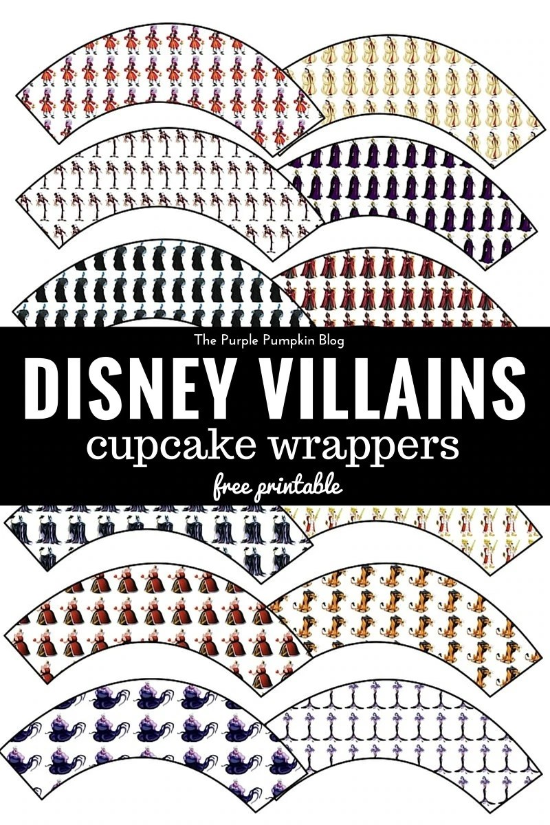 Disney Villains Cupcake Wrappers - perfect for a Disney Villains or Halloween party! Plus there are matching free printable cupcake toppers too!