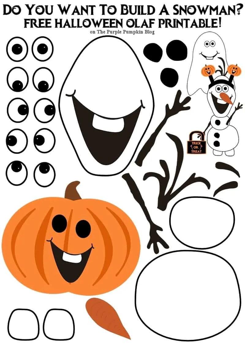 Do You Want To Build An Olaf - Halloween Edition! Simply print onto card, cut, and build a snowman!