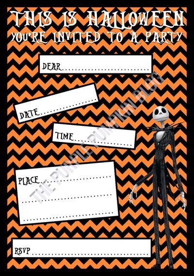 Halloween Party Invitations - Free Printable - The Nightmare Before Christmas - Jack Skellington
