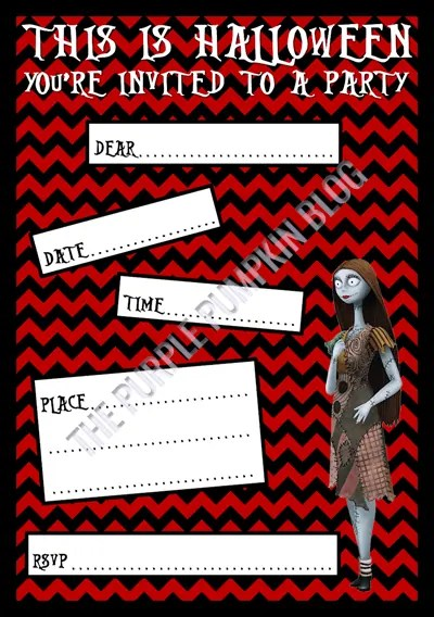 Halloween Party Invitations - Free Printable - The Nightmare Before Christmas - Sally