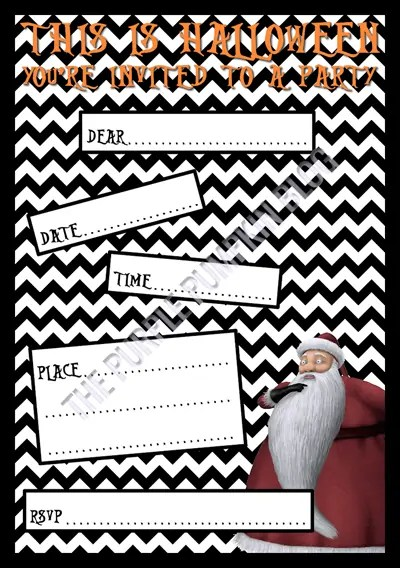 Halloween Party Invitations - Free Printable - The Nightmare Before Christmas - Sandy Claws