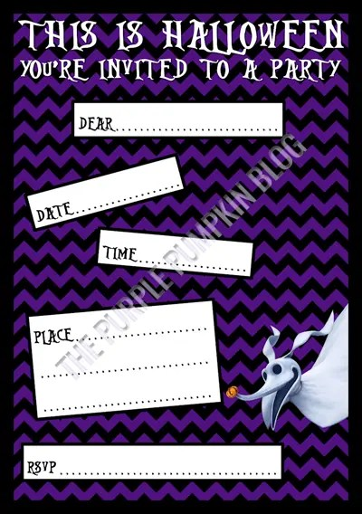 Halloween Party Invitations - Free Printable - The Nightmare Before Christmas - Zero