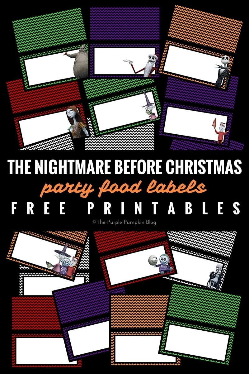 Party Food Labels - The Nightmare Before Christmas. Free printables, plus matching Halloween party items on this blog!