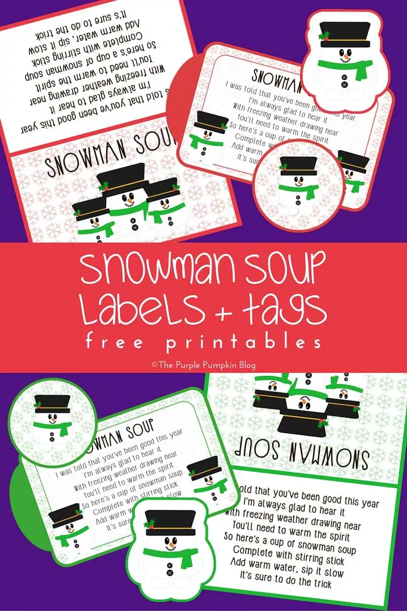 photo relating to Snowman Soup Free Printable Bag Toppers identified as Snowman Soup Labels + Tags - No cost Printables
