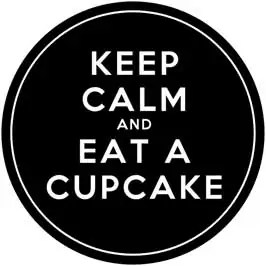 Keep Calm and Eat A Cupcake - Black Cupcake Toppers