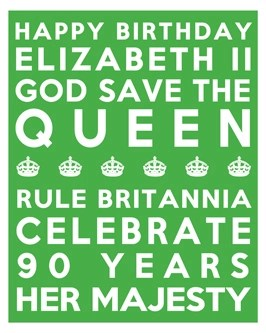 Queen's 90th Birthday Free Printable Subway Art Poster - Green