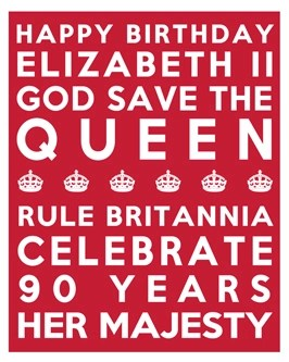 Queen's 90th Birthday Free Printable Subway Art Poster - Red