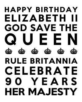 Queen's 90th Birthday Free Printable Subway Art Poster - White