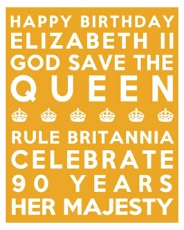 Queen's 90th Birthday Free Printable Subway Art Poster - Yellow