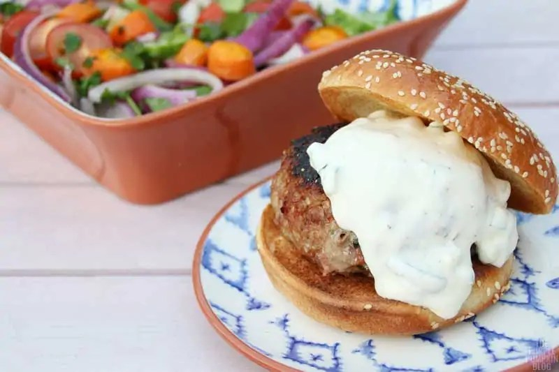 Anglo-Indian Pork Burgers with Roasted Carrots & Raita