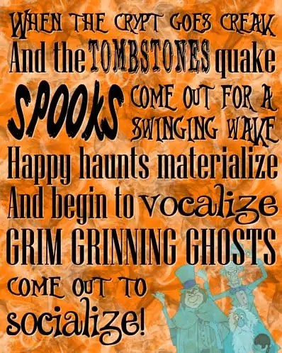 Grim Grinning Ghosts - The Haunted Mansion Poster - Free Printable (Orange)
