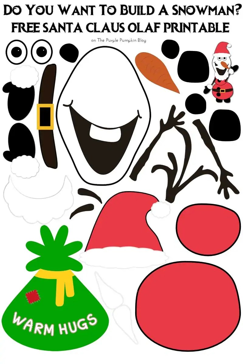 image relating to Santa Claus Printable called Do Yourself Have to have Towards Acquire A Snowman? Santa Claus Olaf Variation