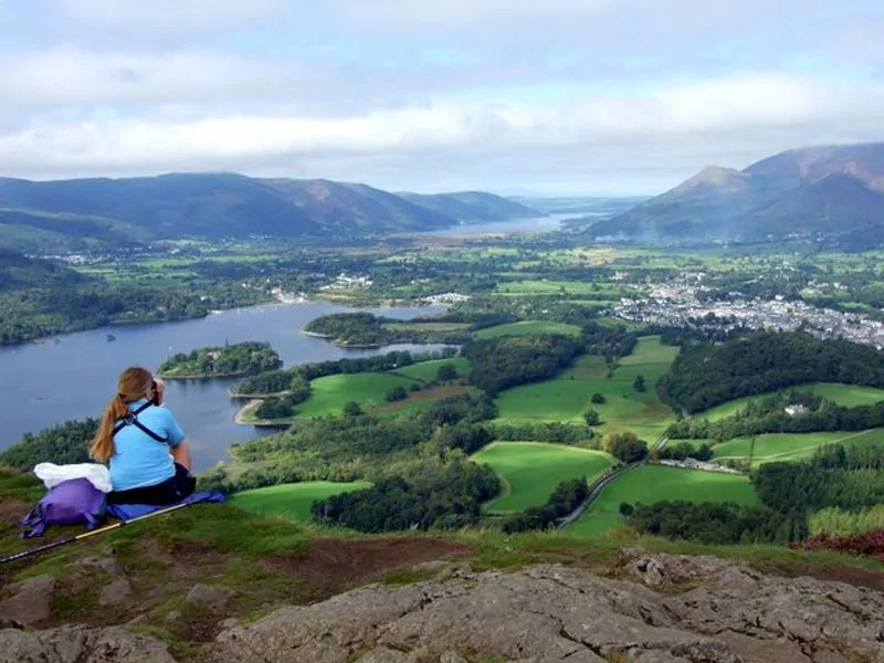Admiring the view from Walla Crag