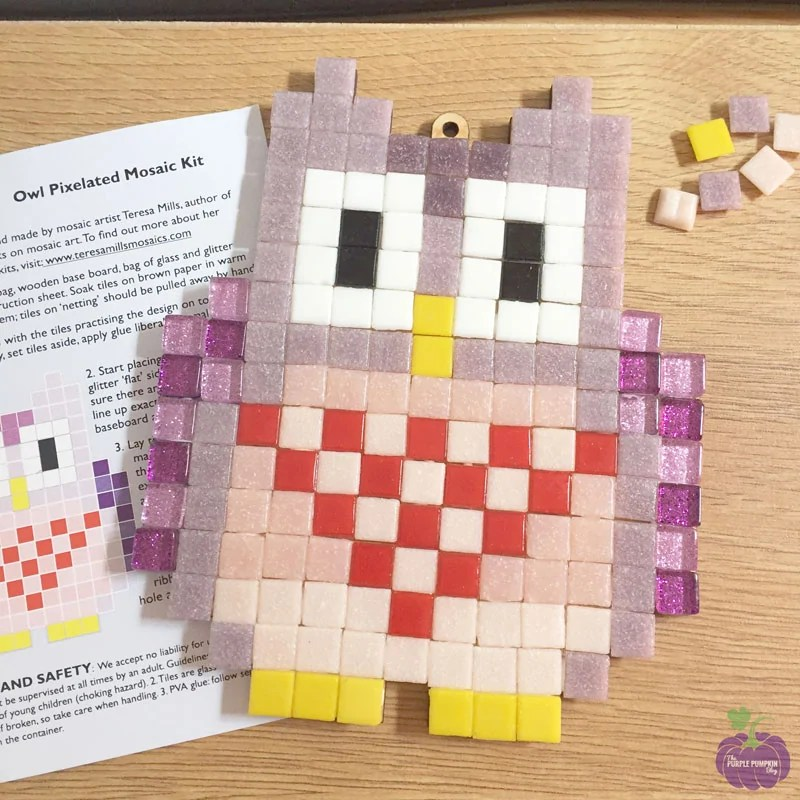 Finished mosaic - Pixelated Mosaic Kit - Owl