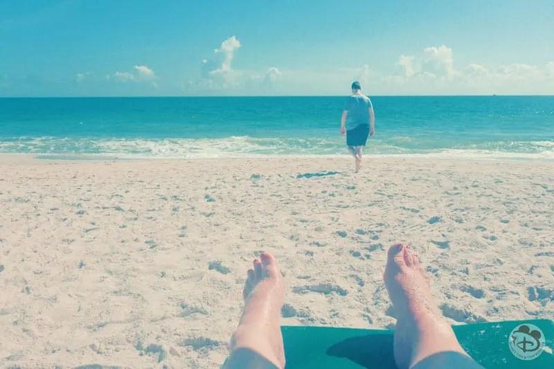 Sandy beach and the ocean