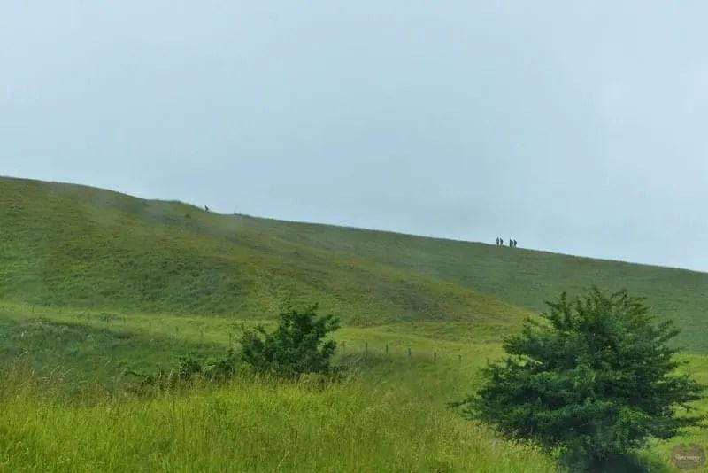 Walking up a hill
