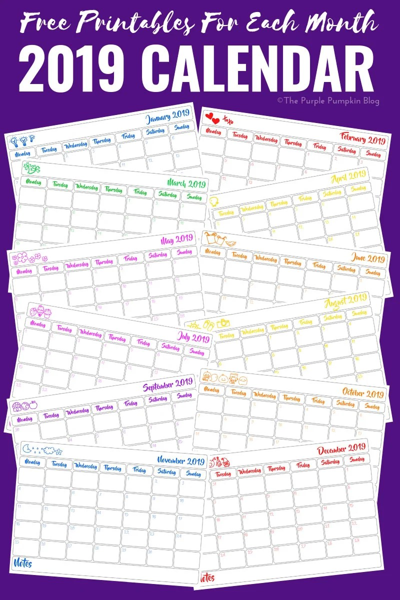 2019 Calendar - Free Printables For each Month