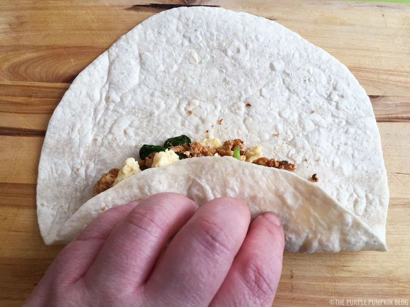 How to fold a breakfast burrito - Step 2