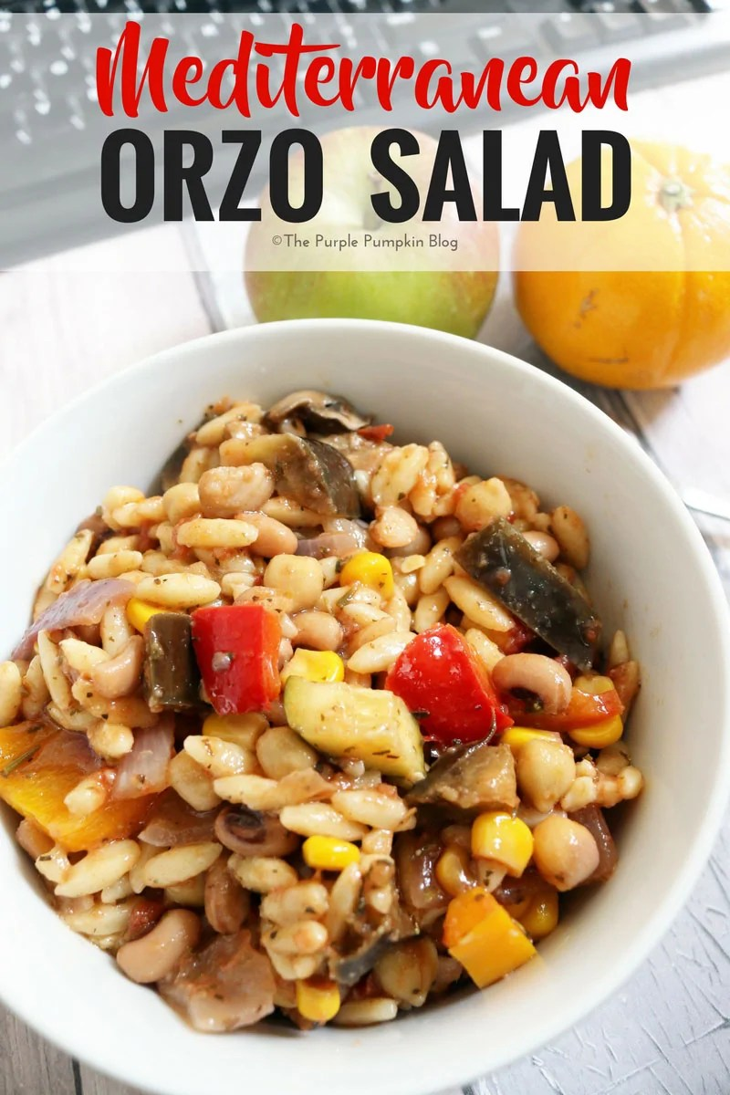 Mediterranean Orzo Salad. This is a tasty salad to enjoy in the summer. Filled with roasted Mediterranean vegetables, beans, orzo and lots of lemon juice, olive oil and herbs. It is a fab make ahead salad for meal prep, and stores well in Mason jars in the fridge for about a week. A great accompaniment for grilled meat and fish on the grill too!