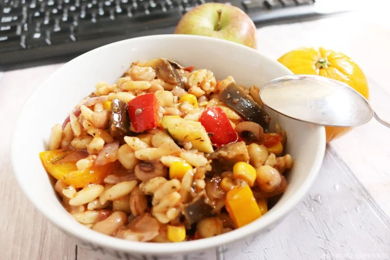 Orzo Salad with Roasted Vegetables and Beans