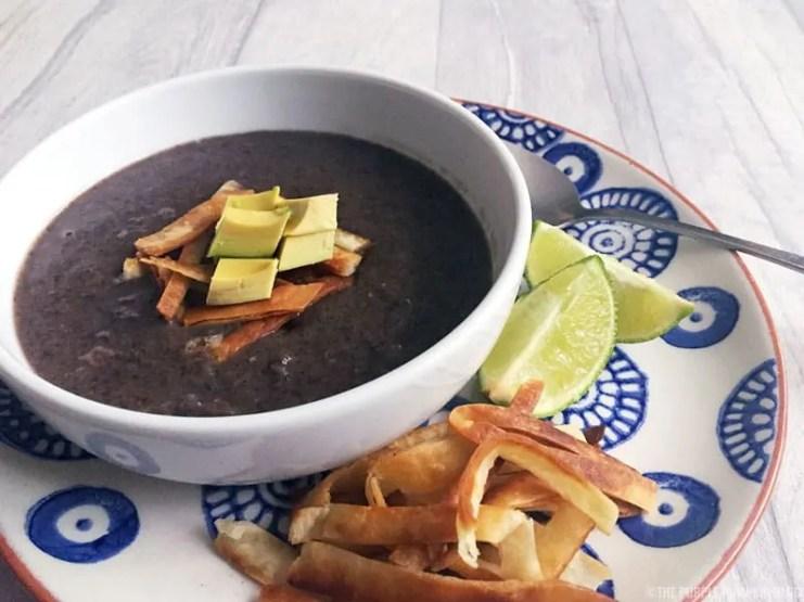 Black Bean Soup with tortilla strips and avocado