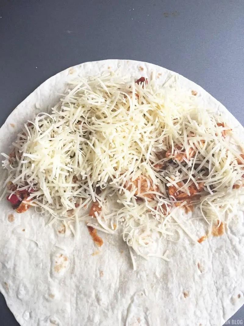 Folding a quesadilla