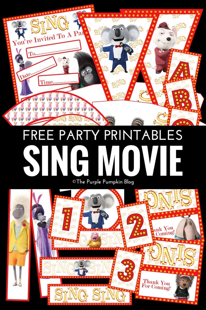 Look no further for SING Movie party printables! Everything you need to throw an awesome SING party can be downloaded for FREE! The free SING Movie party printables include party invitations, favor bag toppers, pennants, alphabet & number banner flags, popcorn boxes, treat cones, party food labels, paper chains, bottle wrappers, cupcake toppers, and cupcake wrappers - it's the motherload of party printables! PLUS fun party food & games ideas.