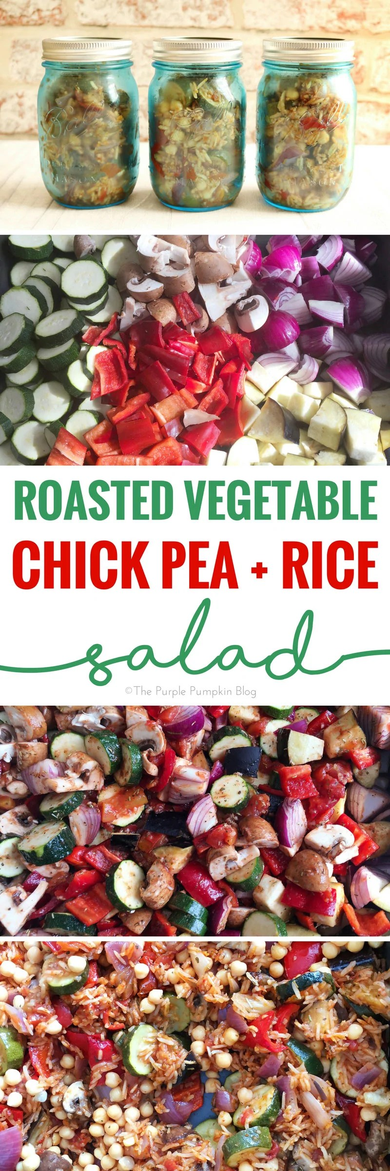 This Roasted Vegetable, Chick Pea & Rice Salad is easy to prepare and can be cooked all in one pan! It's a great salad to eat as a meal in itself, or as a side to barbecued meat and fish. It's very versatile and can be eaten both hot and cold, and keeps well for a few days as a mason jar salad. A tasty recipe to pin!