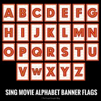 SING Movie Alphabet Banner Flags