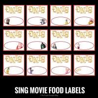 SING Movie Food Labels