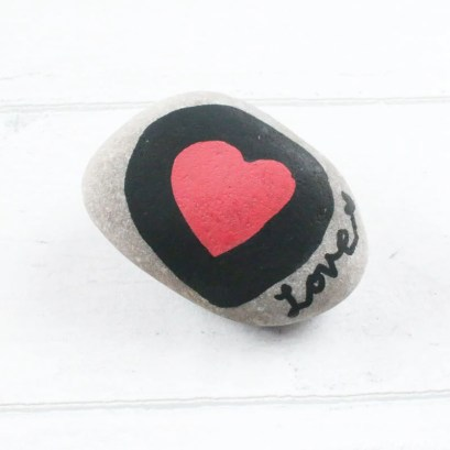 Love Heart Painted Stone