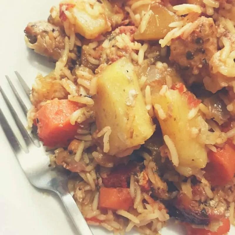 Greek- Cypriot Pork Tavas - a delicious one pan recipe
