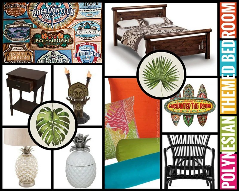 Create a tropical hideaway in your home with this Polynesian Themed Bedroom Makeover Mood Board! Think bright, bold colours and prints, dark wood, rattan, and bamboo furniture, tropical flowers, and tiki statues! Inspired by Disney's Polynesian Village Resort!