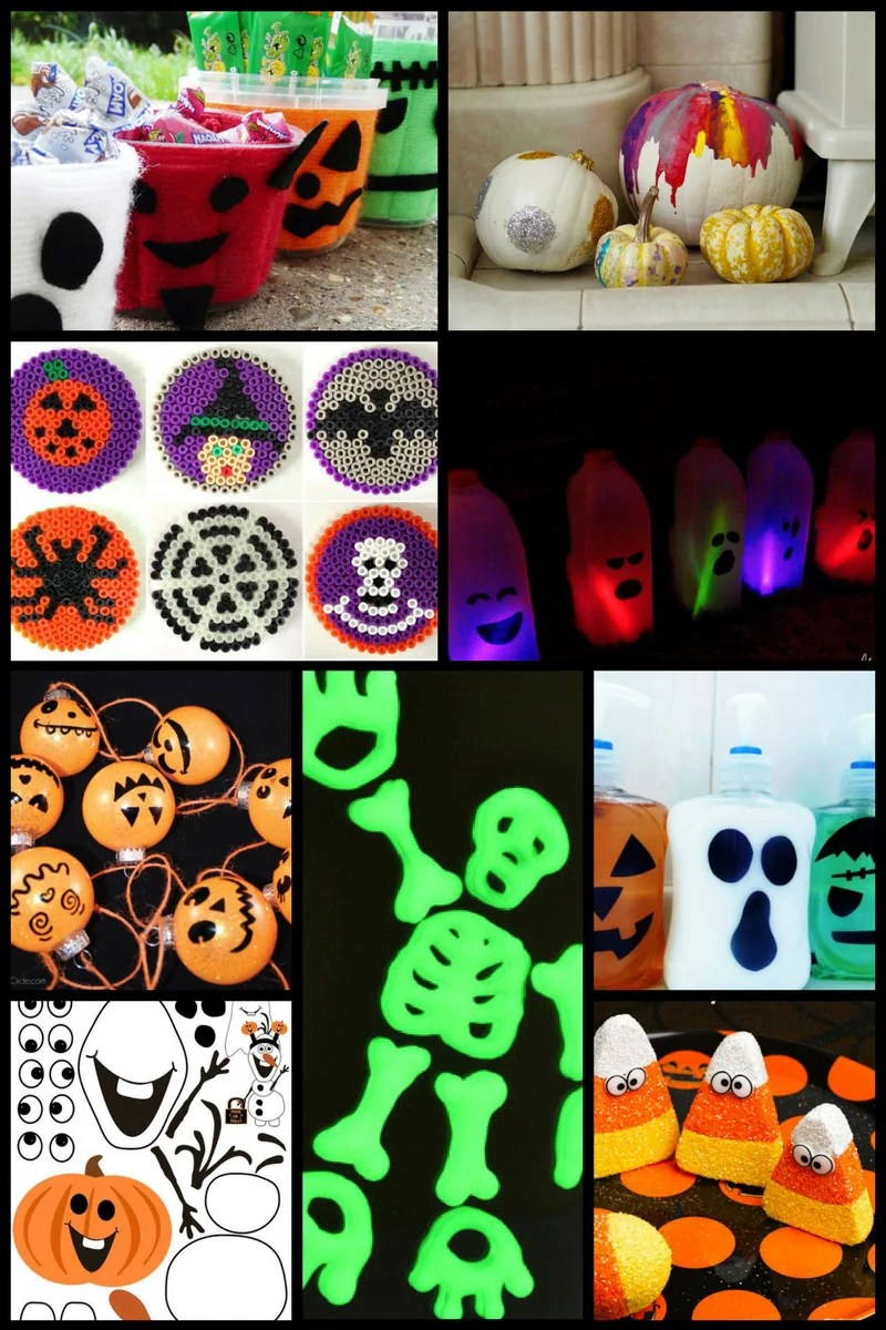 30+ Fun Halloween Crafts for Kids including milk bottle ghosts, Hama bead designs, and no-carve pumpkins