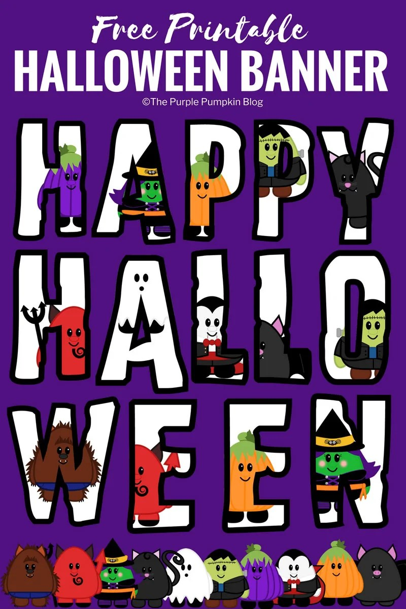 image regarding Happy Halloween Banner Printable referred to as Free of charge Printable Lovable Halloween Banner