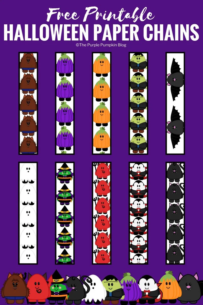photograph regarding Printable Halloween Paper identified as Free of charge Printable Adorable Halloween Paper Chains