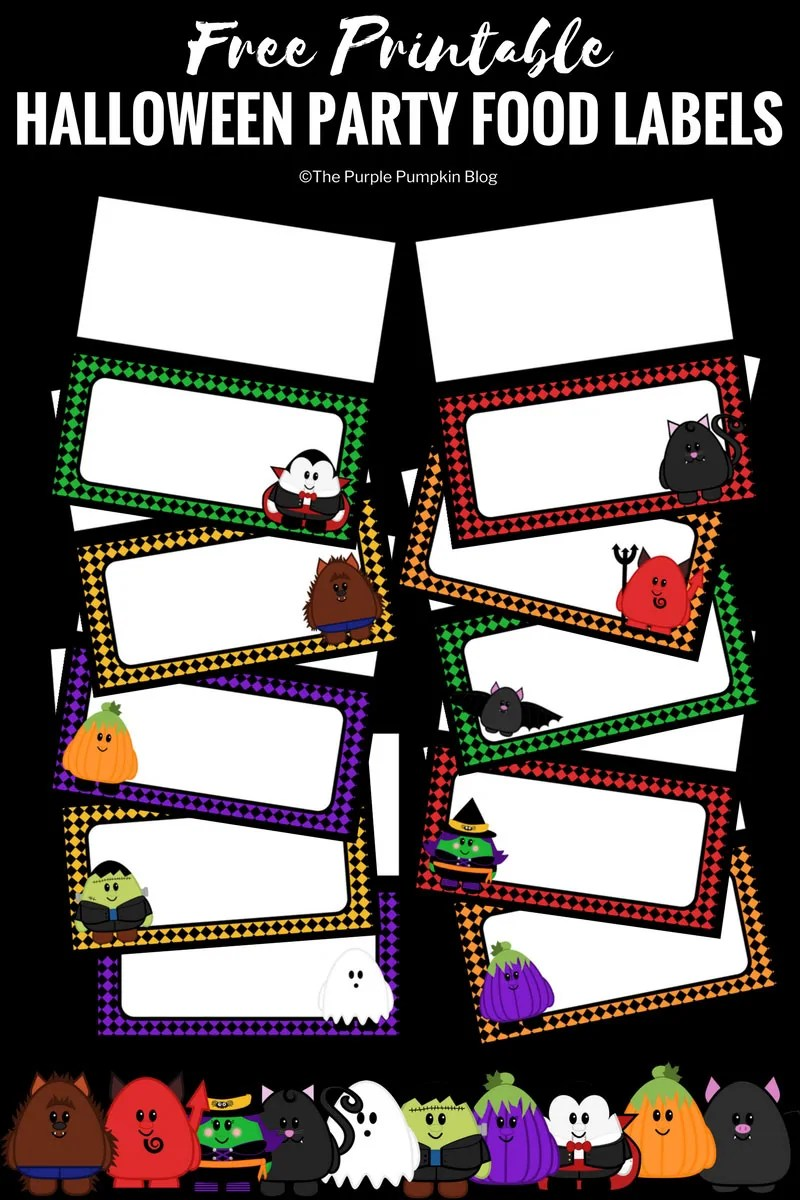 Print off these cute Halloween party food labels to use at your next Halloween party! They feature super cute characters and are part of a fab Halloween free printable party set! Awesome! #FreePrintables #Halloween