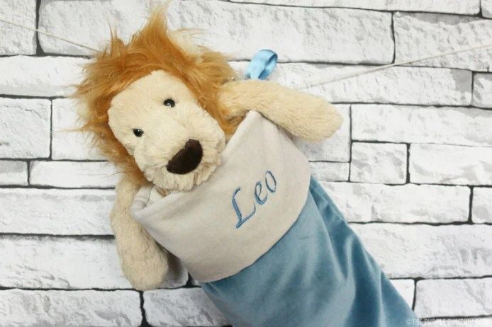 Personalised Christmas Stocking and Lion Plush