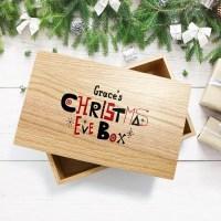 Personalised Large Oak Christmas Eve Box