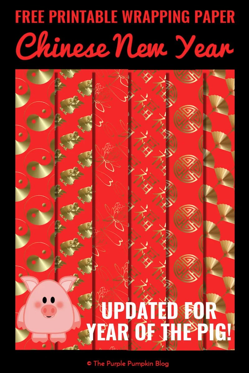 A set of 6 free printable wrapping paper sheets for Chinese New Year. Simply download, print and use!
