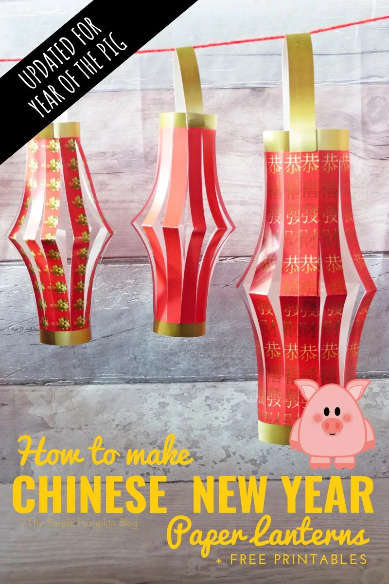 Free Printable Chinese New Year Paper Lanterns - Download and print this paper lantern template and make them to hang at Chinese New Year. Video tutorial included too!