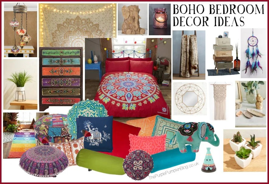 Boho Bedroom Decor Ideas   Get The Bohemian Look Boho Bedroom Decor Ideas   a mood board with scatter cushions  ornaments   decorative items