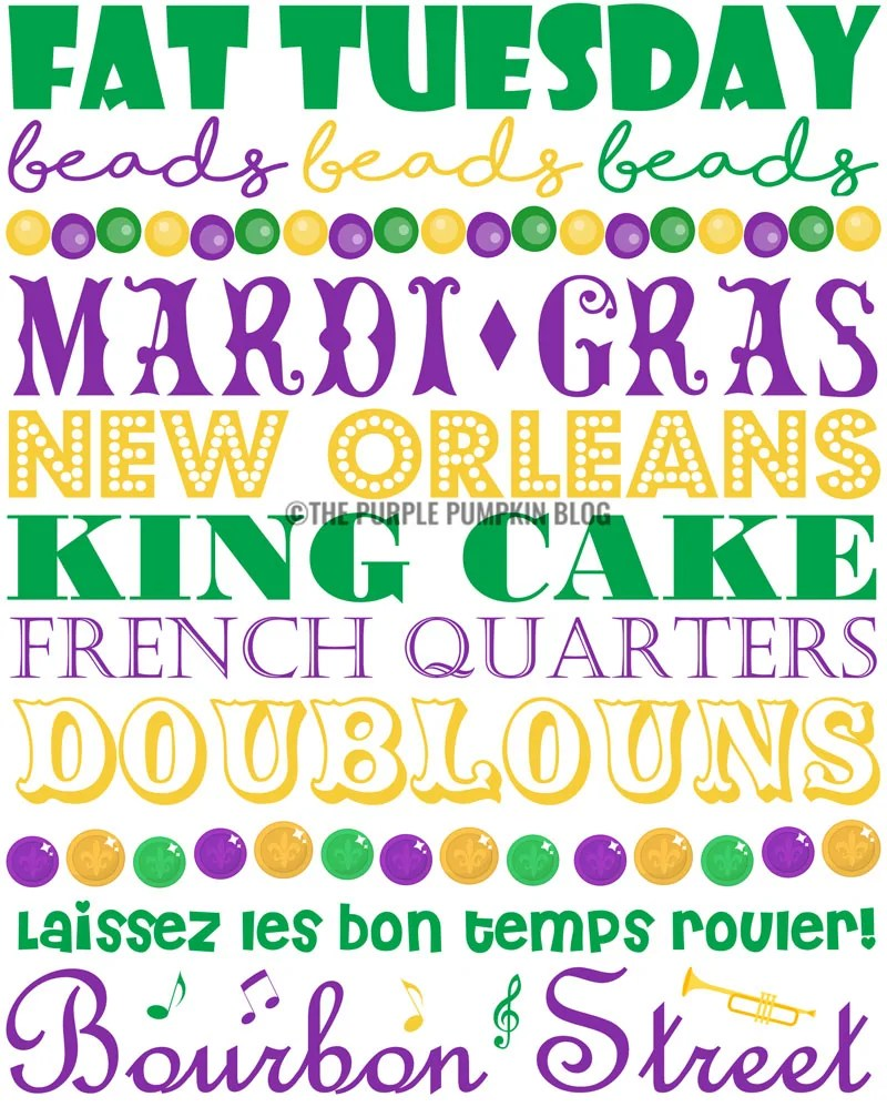 Mardi Gras SubwayArt Poster which says: Fat Tuesday, Beads, Beads, Beads, Mardi Gras, New Orleans, King Cake, French Quarters, Doublouns, Laissez les bon temps rouler, Bourbon Street in green, yellow, and purple colors.
